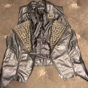 Faux Leather Studded Moto Vest